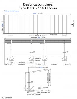 Carport XIMAX Linea Aluminium Typ 60 Tandem ES 983 x273x244cm Bild 2