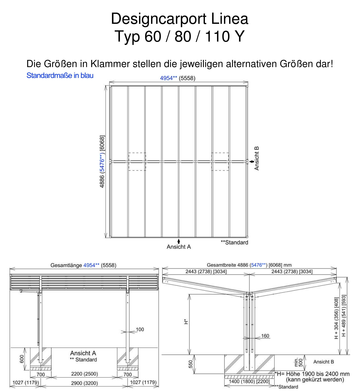 Carport XIMAX Linea Aluminium Typ 60 Y ES 495x548x244cm Bild 2