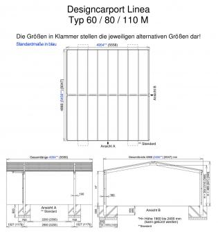 Carport XIMAX Linea Aluminium Typ 80 M ES 495x546x244cm Bild 2
