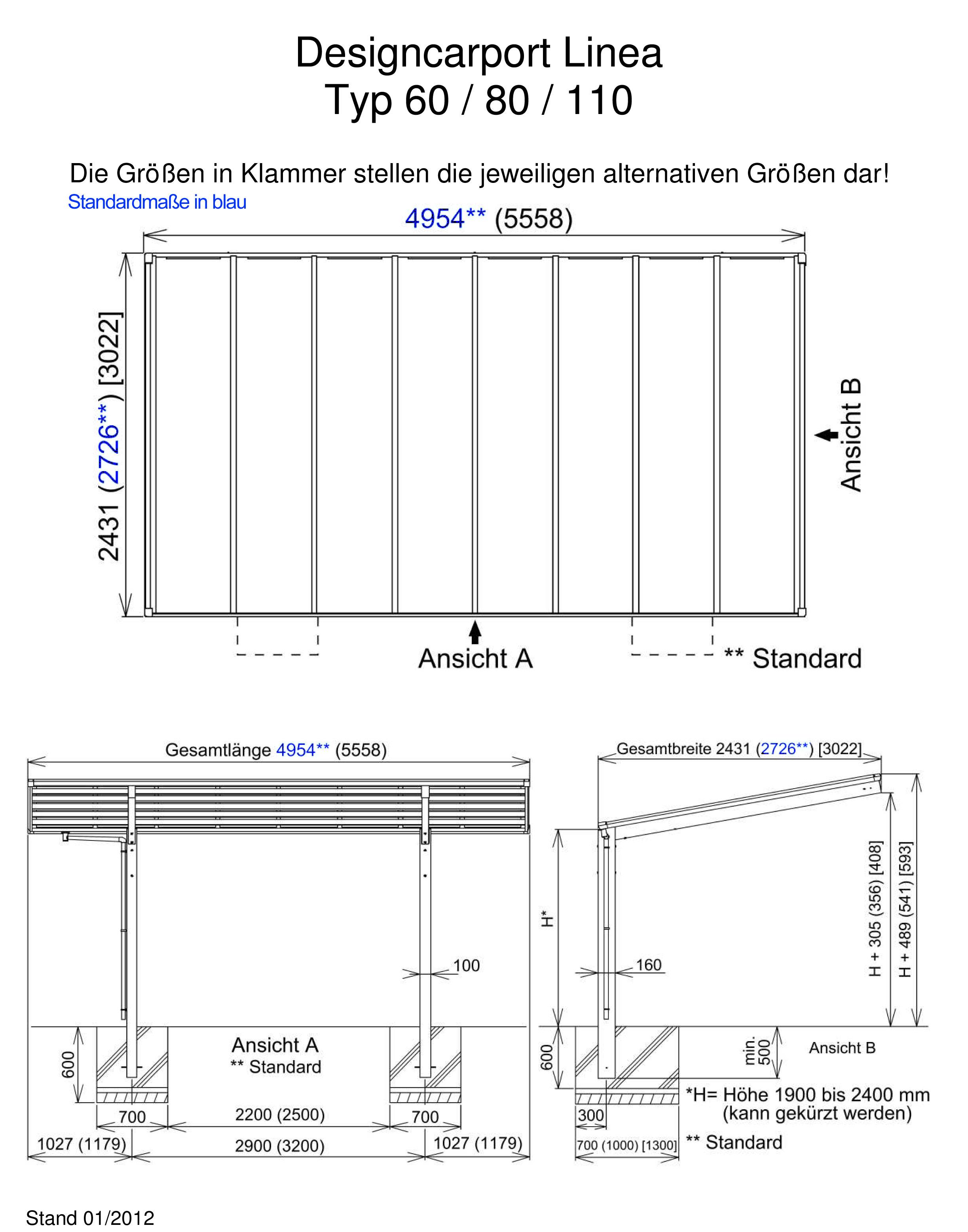 carport ximax linea aluminium typ 80 standard es. Black Bedroom Furniture Sets. Home Design Ideas