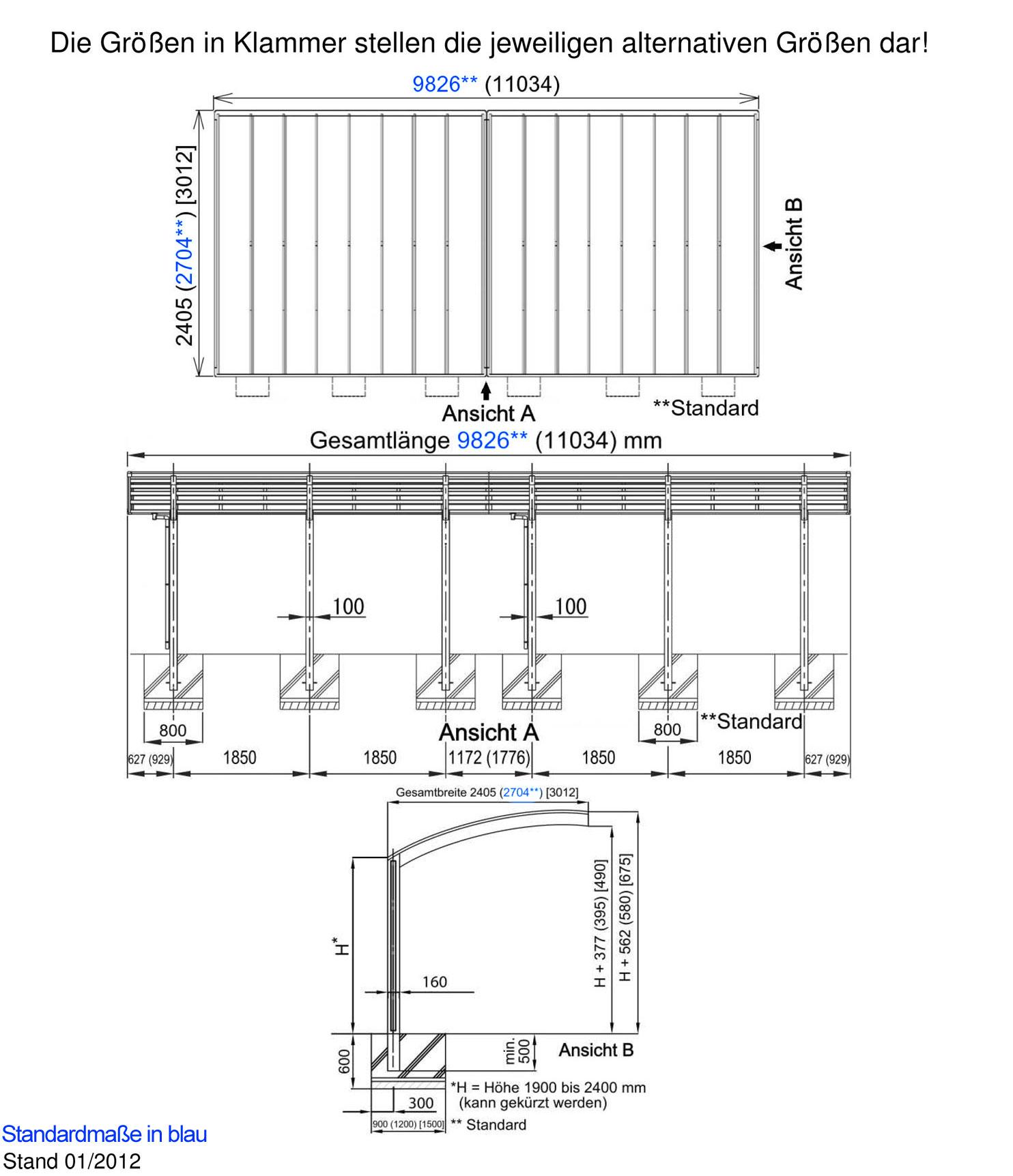 carport ximax portoforte aluminium typ170 tandem es 983x240x248cm bei. Black Bedroom Furniture Sets. Home Design Ideas