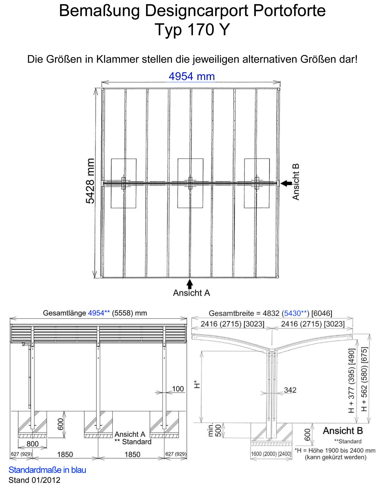 carport ximax portoforte aluminium typ 170 y es. Black Bedroom Furniture Sets. Home Design Ideas