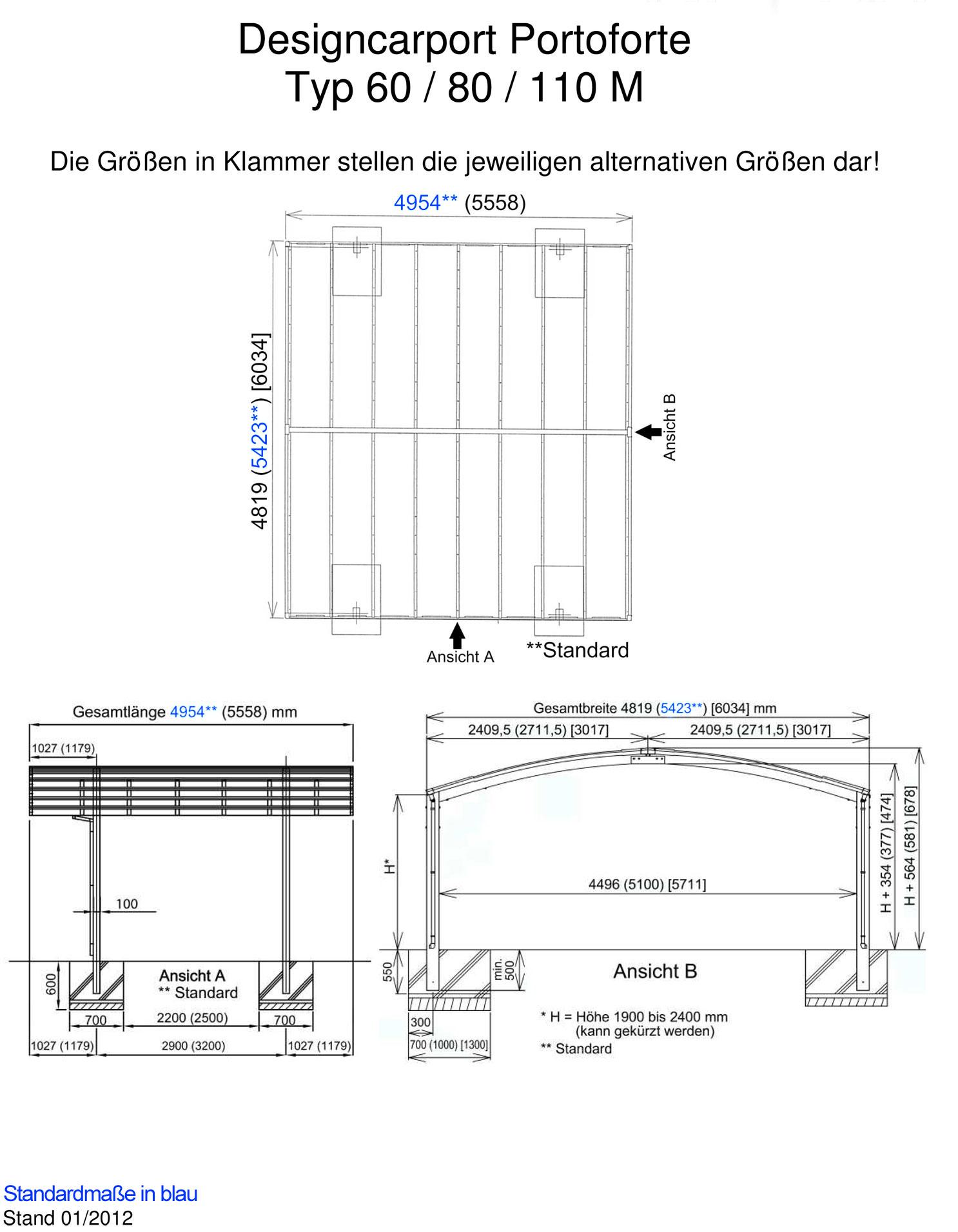 carport ximax portoforte aluminium typ 80 m es. Black Bedroom Furniture Sets. Home Design Ideas