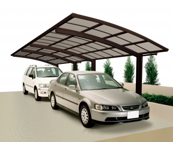 Carport XIMAX Portoforte Alu Typ 80 Tandem mattbraun 983x240x248cm Bild 1