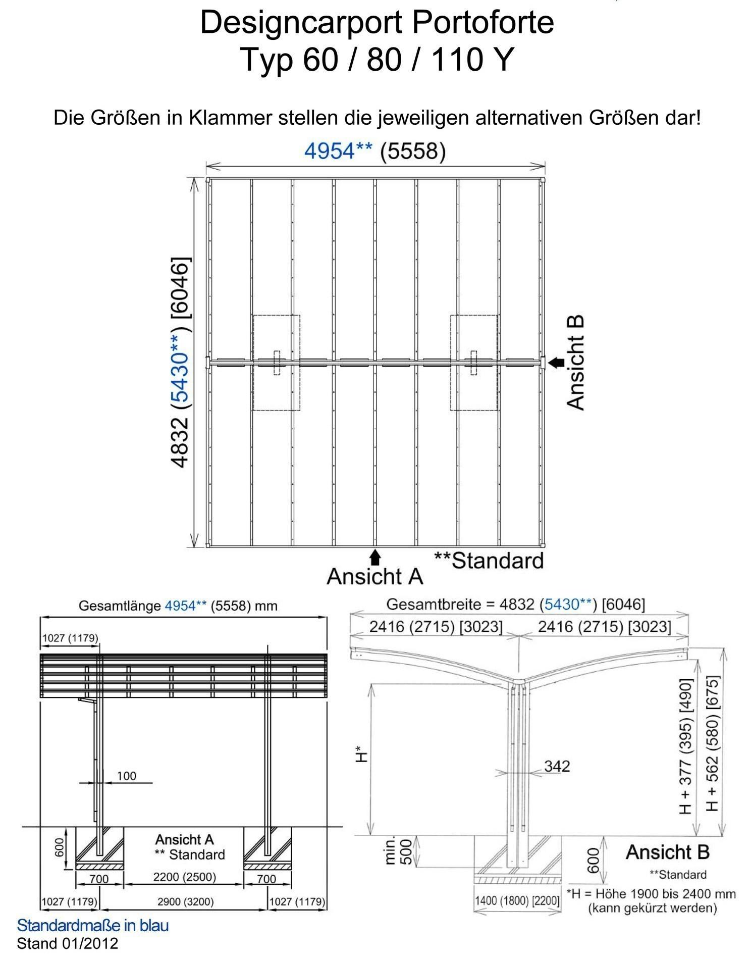 Carport XIMAX Portoforte Alu Typ 80 Y mattbraun 495x543x248cm Bild 2