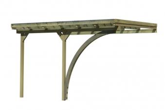 Carport Karibu Anlehncarport 2 kdi Flachdach + Rundbogen 363x433cm Bild 1