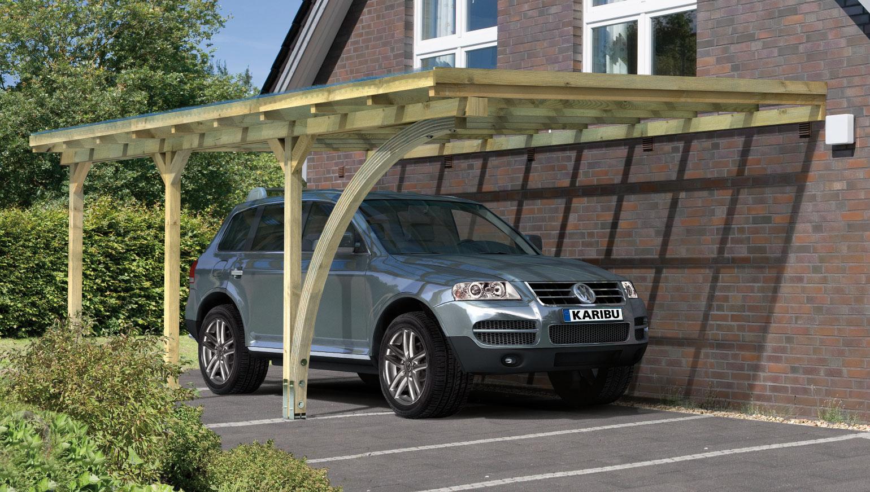 carport karibu anlehncarport 3 kdi flachdach rundbogen 365x625cm bei. Black Bedroom Furniture Sets. Home Design Ideas