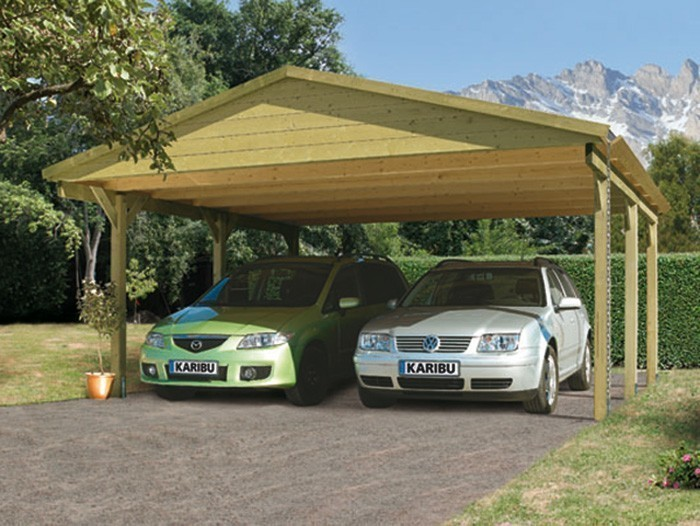 carport eco doppel karibu kdi 504x396 cm mit satteldach. Black Bedroom Furniture Sets. Home Design Ideas