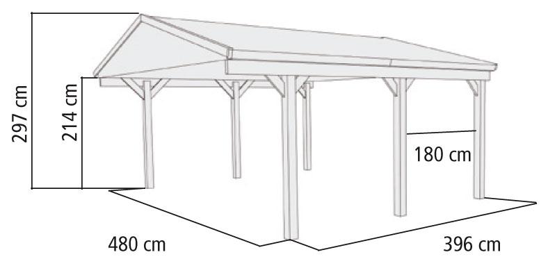 carport eco doppel karibu kdi 504x396 cm mit satteldach. Black Bedroom Furniture Sets. Home Design Ideas