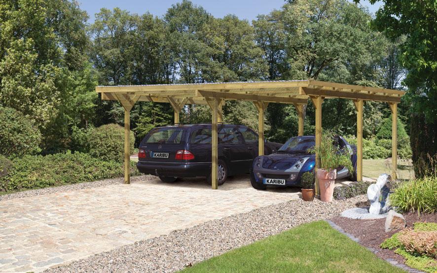 carport karibu eco doppelcarport 1 1 rundbogen kdi 563x490cm bei. Black Bedroom Furniture Sets. Home Design Ideas