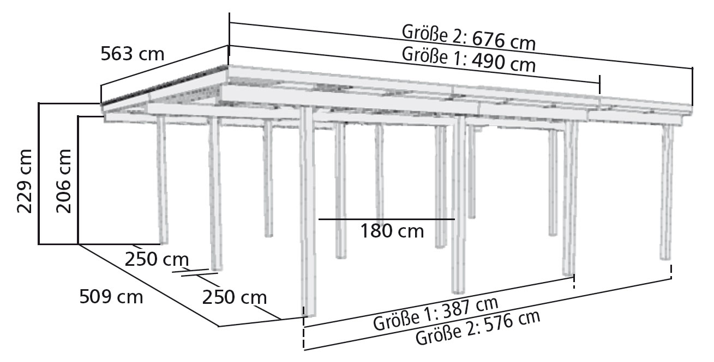 carport karibu eco doppelcarport 1 2 rundb gen kdi 563x490cm bei. Black Bedroom Furniture Sets. Home Design Ideas