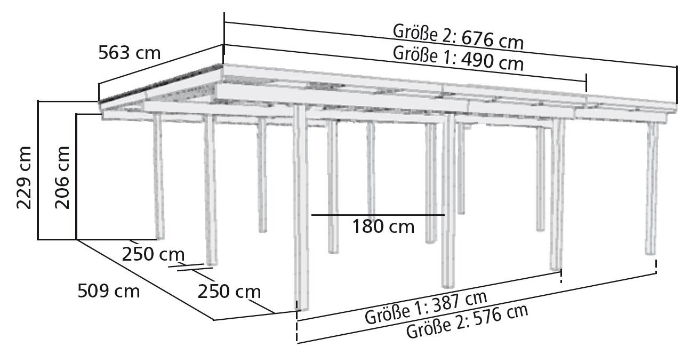 carport karibu eco doppelcarport 1 2 rundb kdi 563x490cm. Black Bedroom Furniture Sets. Home Design Ideas