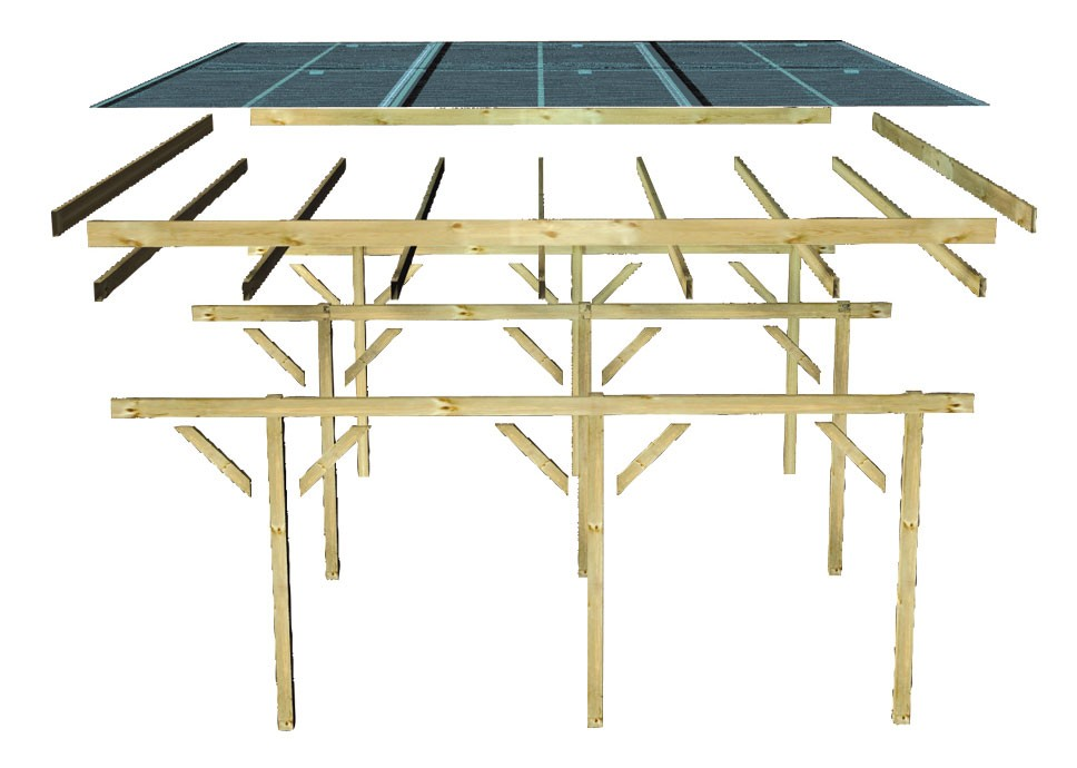 carport karibu eco doppelcarport 1 kdi 563x490cm bei. Black Bedroom Furniture Sets. Home Design Ideas
