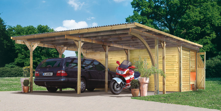 Carport Karibu Eco Doppelcarport 2 kdi + 2 Rundbögen 563x676cm Bild 1