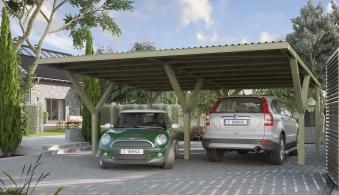 Carport Weka Y-Doppelcarport 612 kdi mit Stahldach 594x606cm Bild 1