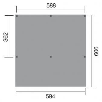 Carport Weka Y-Doppelcarport 612 kdi mit Stahldach 594x606cm Bild 2