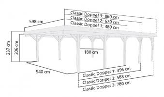 Doppelcarport Karibu Classic Doppel 1 kdi PVC-Dach / Rundb. 598x480cm Bild 2