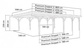 Doppelcarport Karibu Premium Doppel 3 kdi PVC-Dach 1 Rundb. 598x860cm Bild 2