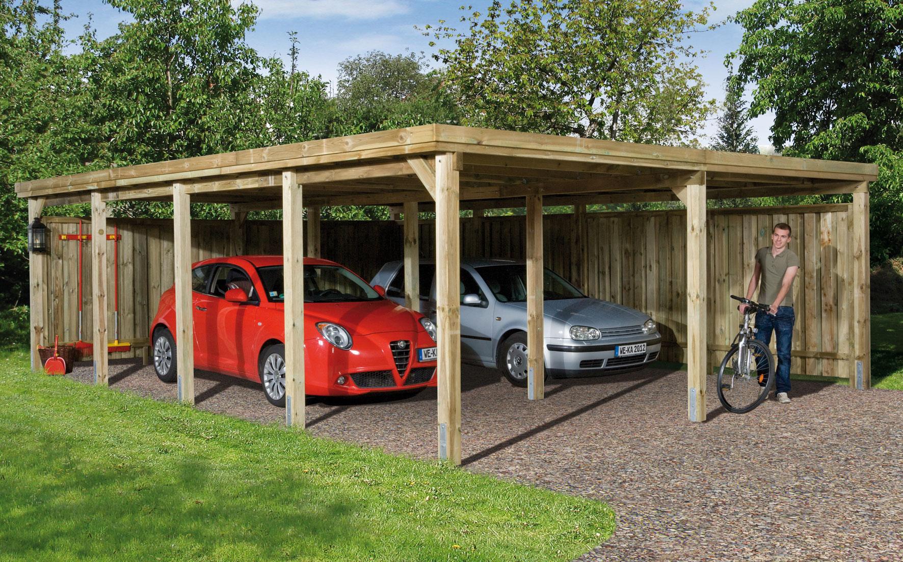 Doppelcarport Weka 618 Gr.3 Holz kdi + Kunststoff 603x802cm Bild 1