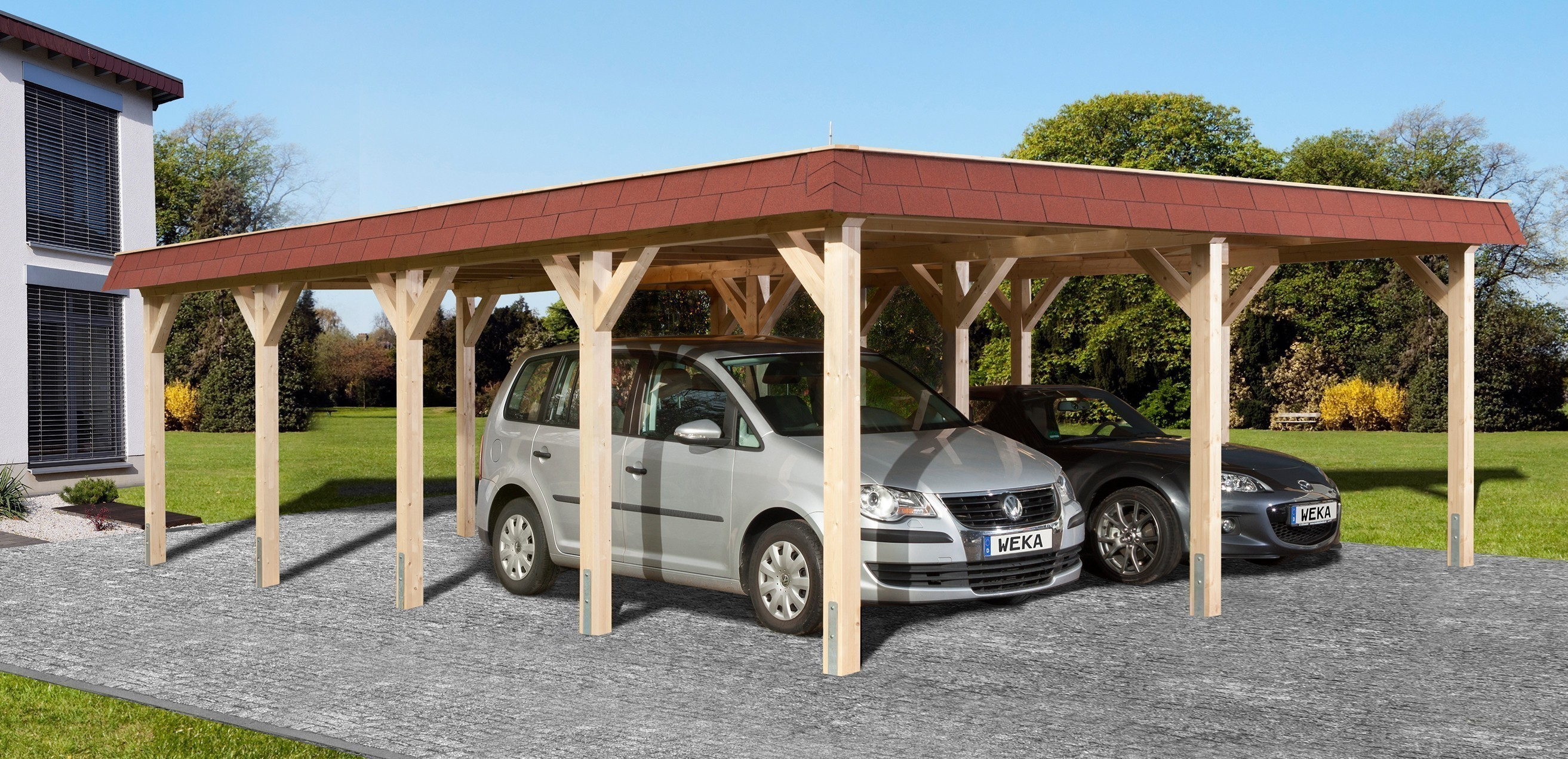 weka carport doppelcarport leimholz 615 gr 2 flachdach 622x832cm bei. Black Bedroom Furniture Sets. Home Design Ideas