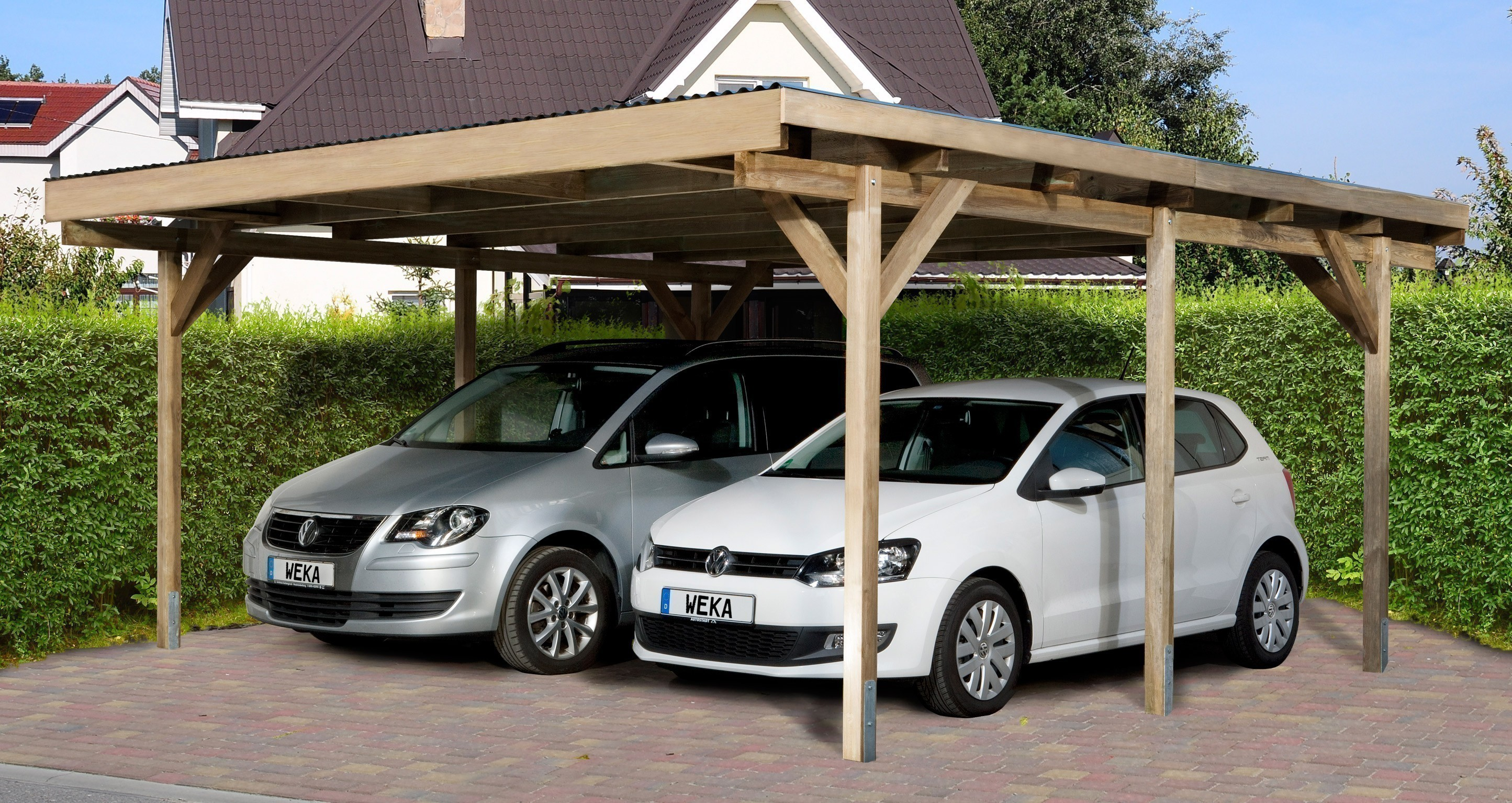 weka carport doppelcarport 616 kdi 500x500 cm bei. Black Bedroom Furniture Sets. Home Design Ideas