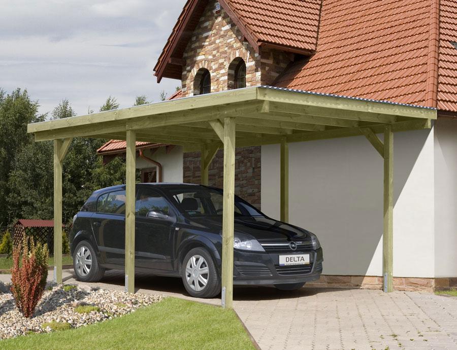 Carport Holz imprägniert  / Einzelcarport KDI mit PVC-Dach 300x500cm Bild 1
