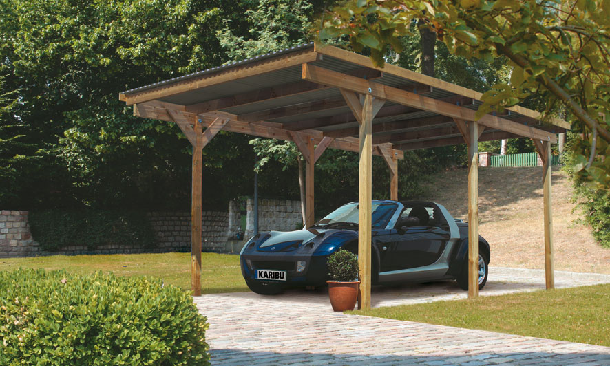 carport karibu eco einzelcarport 1 kdi 304x490cm bei. Black Bedroom Furniture Sets. Home Design Ideas