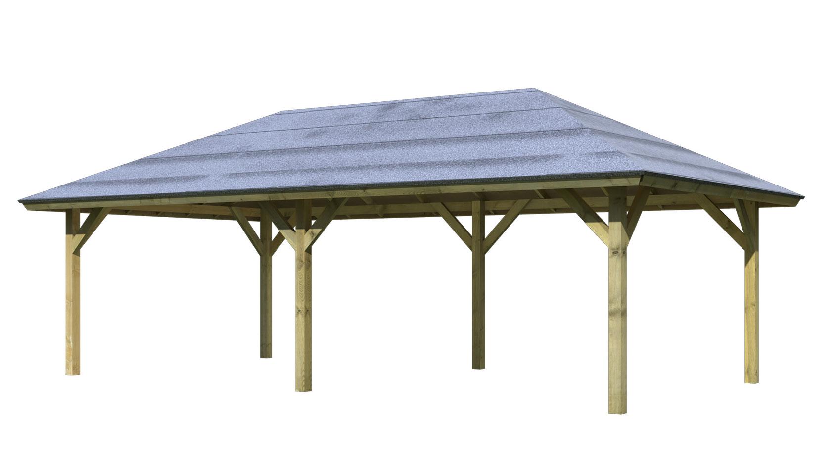 carport pavillon karibu classic kirn 3 walmdach 778x431cm bei. Black Bedroom Furniture Sets. Home Design Ideas