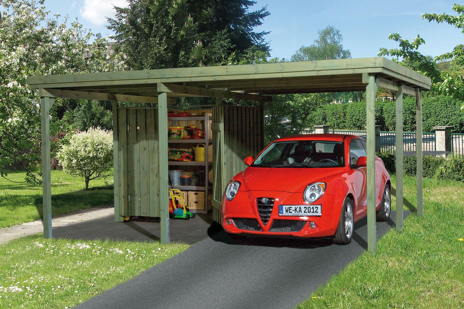 Carport Weka Carport 607 Gr.1 mit Geräteraum kdi 512x416cm Bild 1