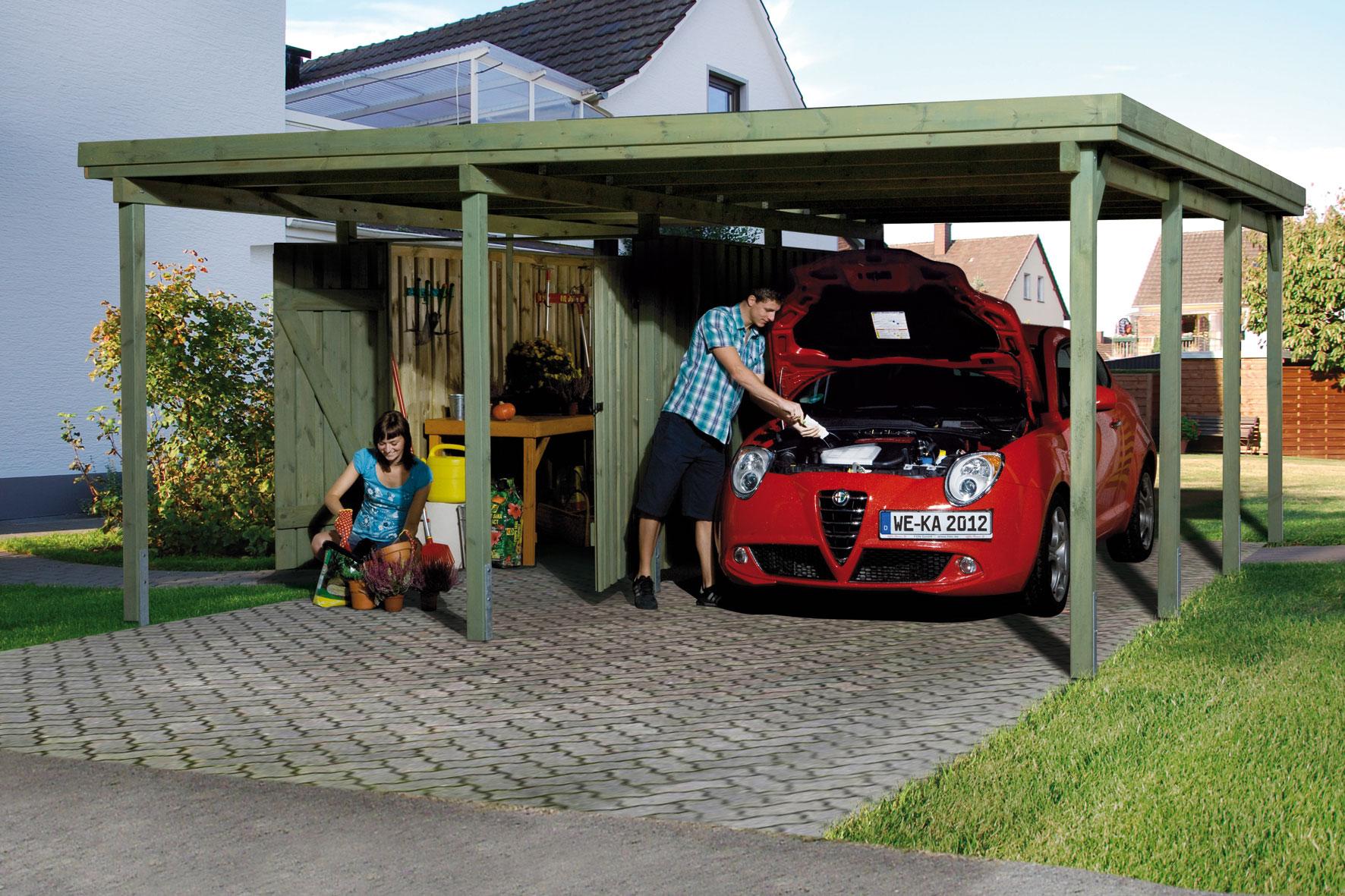 carport weka carport plus xl 1 mit ger teraum kdi. Black Bedroom Furniture Sets. Home Design Ideas