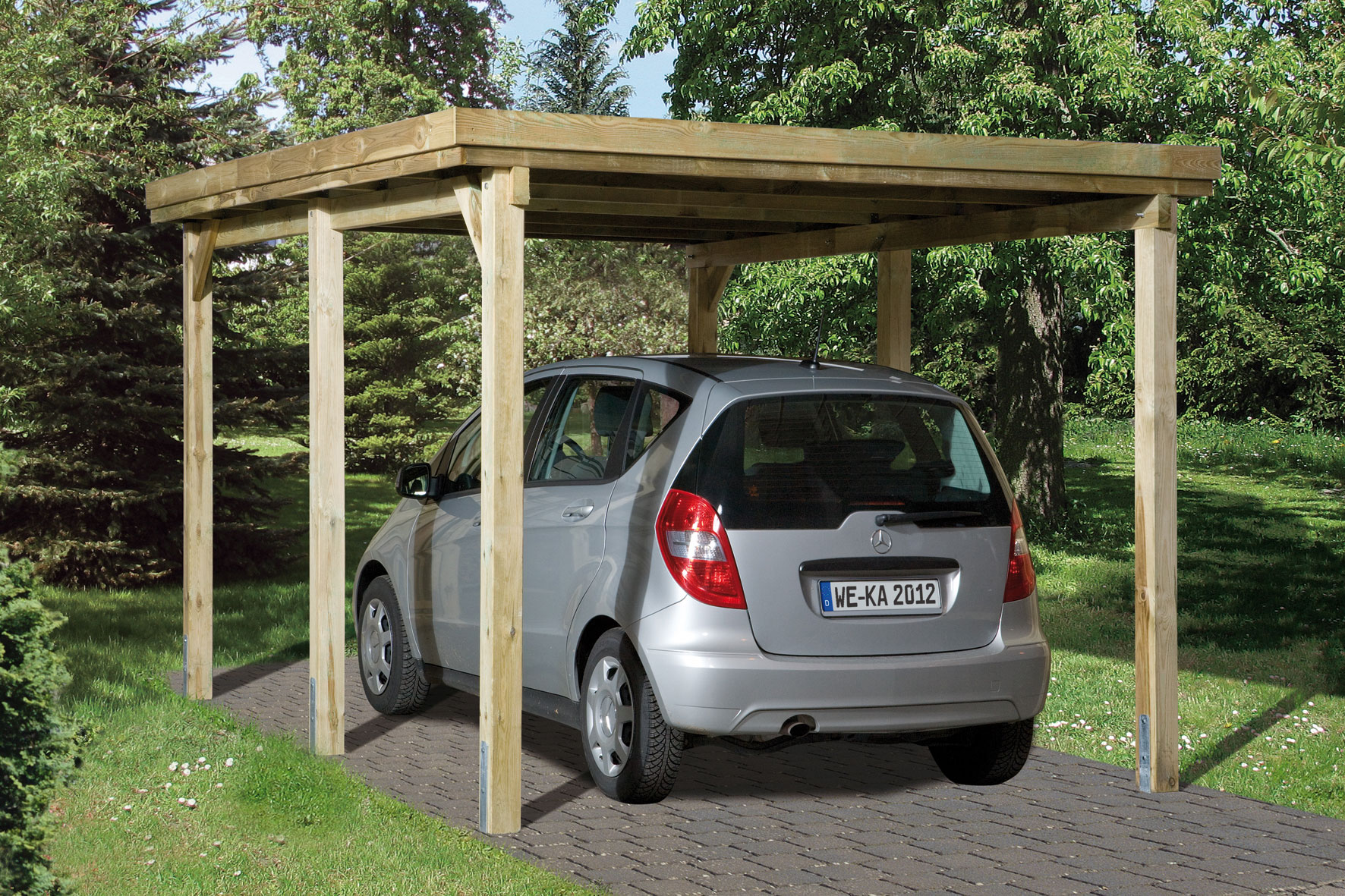 Carport Weka Einzelcarport 617 Gr. 2 Holz kdi + Kunststoff 322x612cm Bild 1