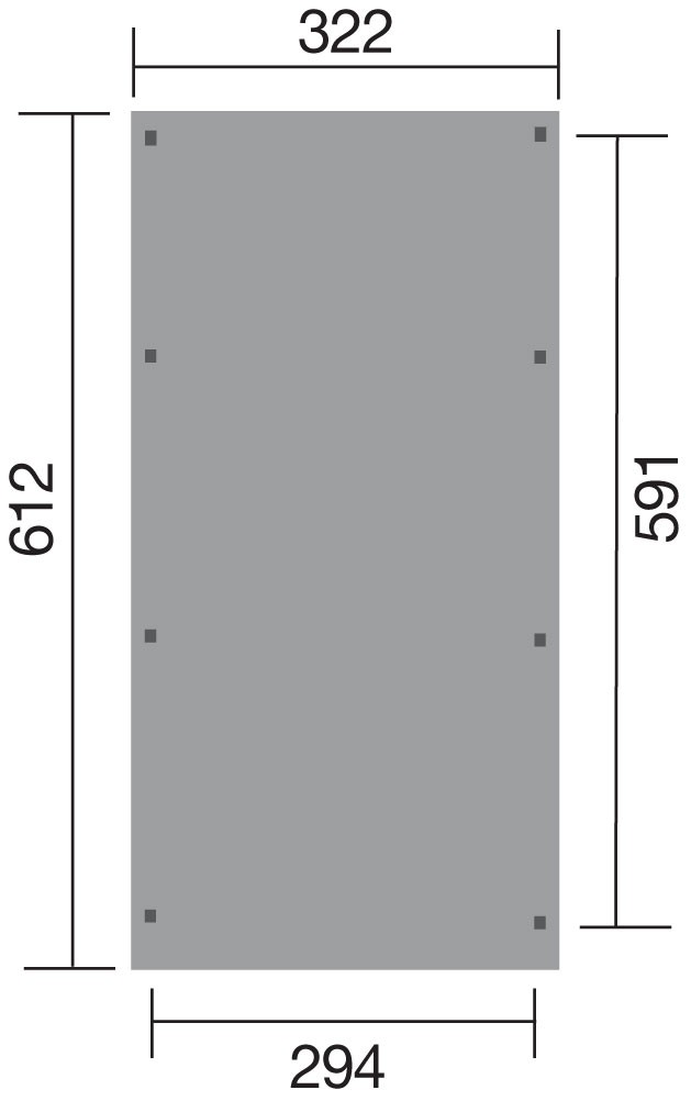 Carport Weka Einzelcarport 617 Gr. 2 Holz kdi + Kunststoff 322x612cm Bild 2