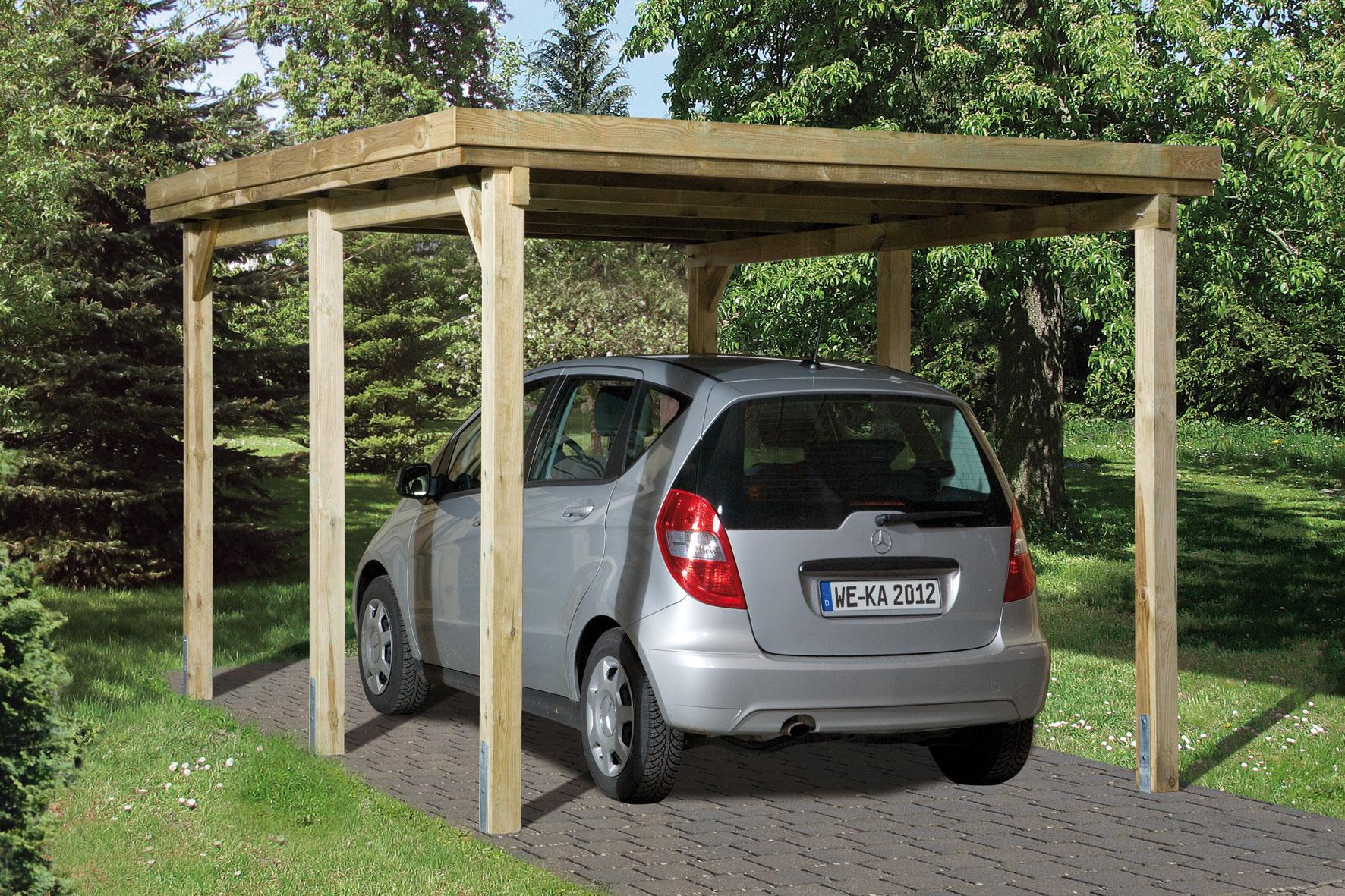 Carport Weka Einzelcarport 617 Gr. 3 Holz kdi + Kunststoff 322x802cm Bild 1