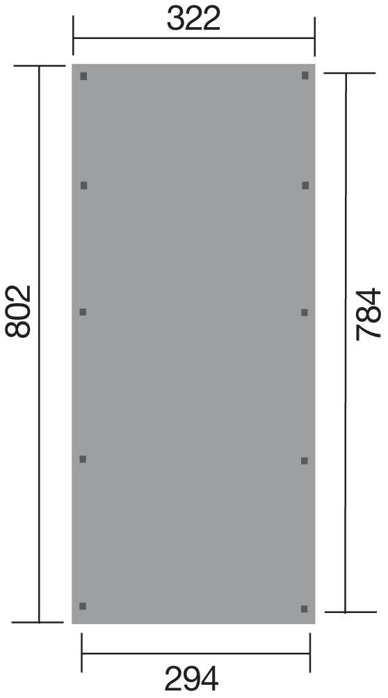 Carport Weka Einzelcarport 617 Gr. 3 Holz kdi + Kunststoff 322x802cm Bild 2