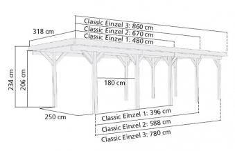Einzelcarport Karibu Classic Einzel 3 kdi Stahldach 2 Rundb. 318x860cm Bild 2
