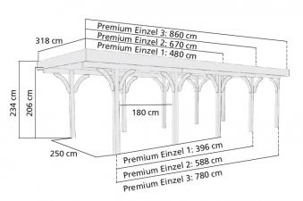 Einzelcarport Karibu Premium Carport Einzel 3 kdi PVCD./2Rundb 318x860 Bild 2