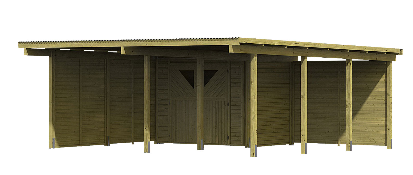 karibu eco carport mit abstellraum 1 kdi 563x676cm wand. Black Bedroom Furniture Sets. Home Design Ideas