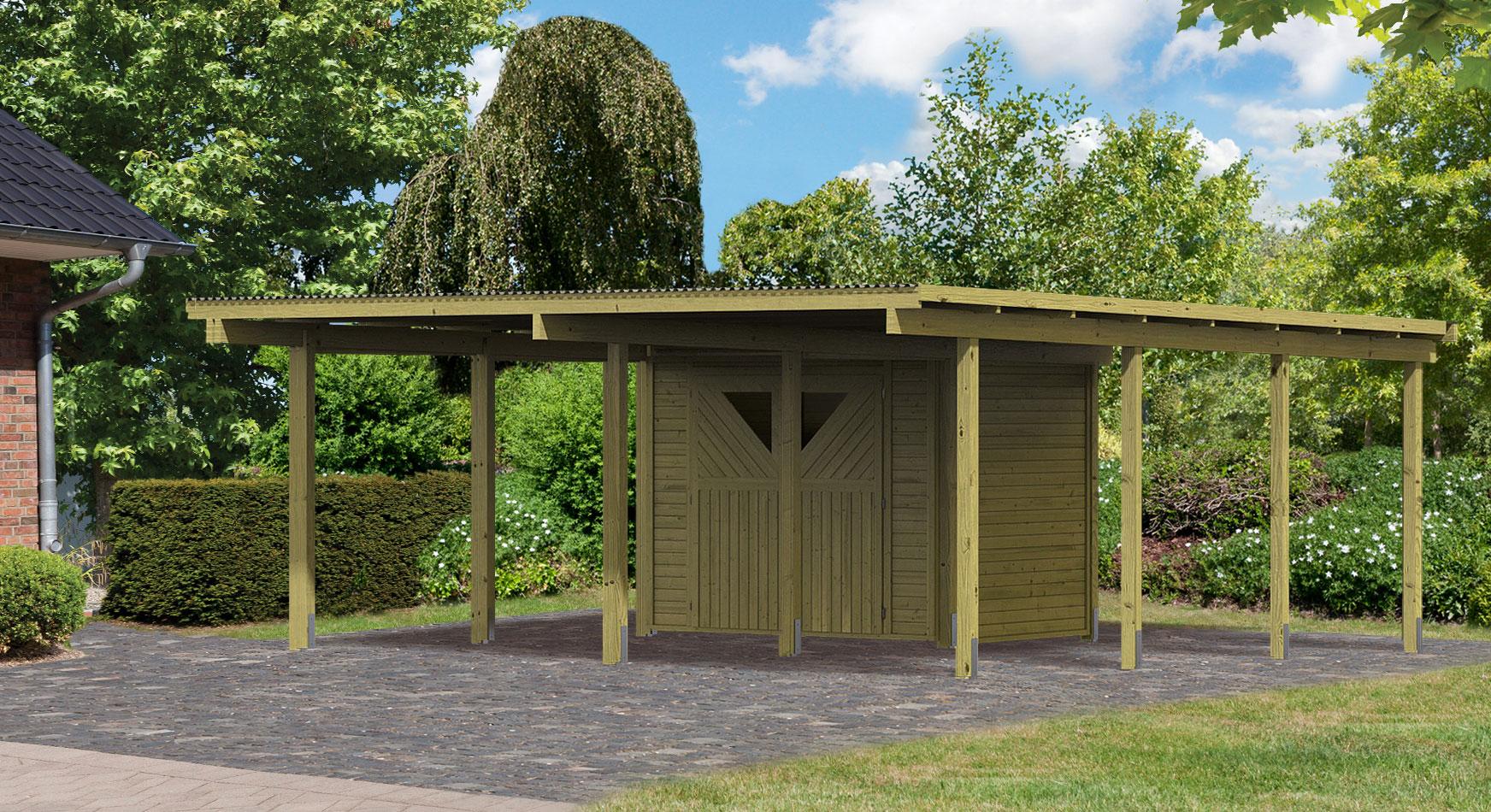 karibu eco carport mit abstellraum 1 kdi 563x676cm bei. Black Bedroom Furniture Sets. Home Design Ideas