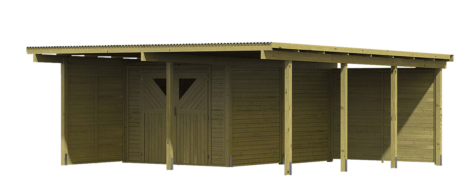 karibu eco carport mit abstellraum 2 kdi 563x676cm wand set bei. Black Bedroom Furniture Sets. Home Design Ideas
