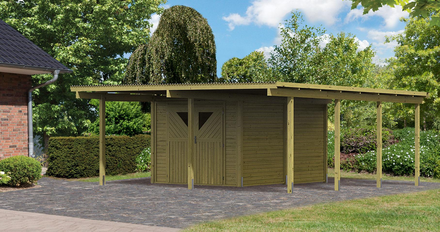 karibu eco carport mit abstellraum 2 kdi 563x676cm bei. Black Bedroom Furniture Sets. Home Design Ideas