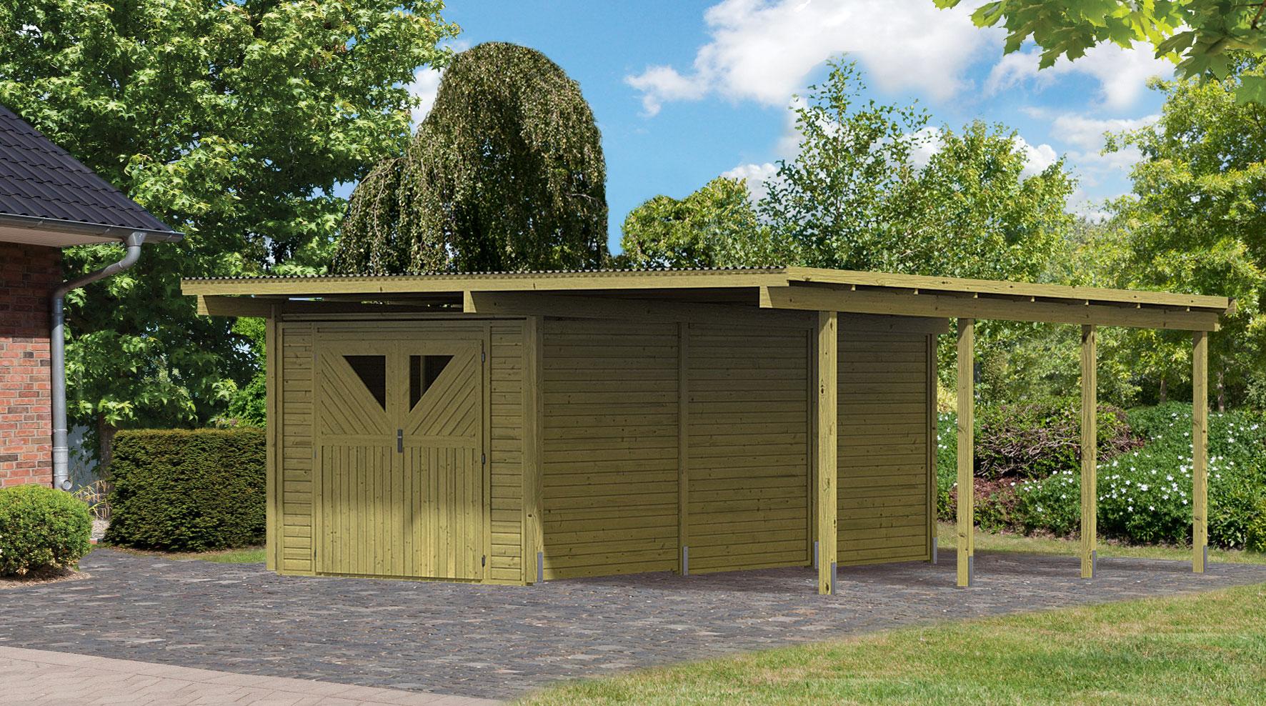 karibu eco carport mit abstellraum 3 kdi 563x676cm bei. Black Bedroom Furniture Sets. Home Design Ideas