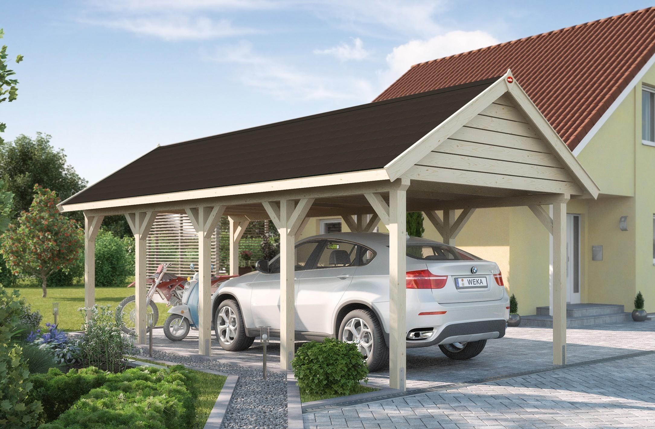 weka carport einzelcarport leimholz 614 gr 2 satteldach 360x832cm bei. Black Bedroom Furniture Sets. Home Design Ideas
