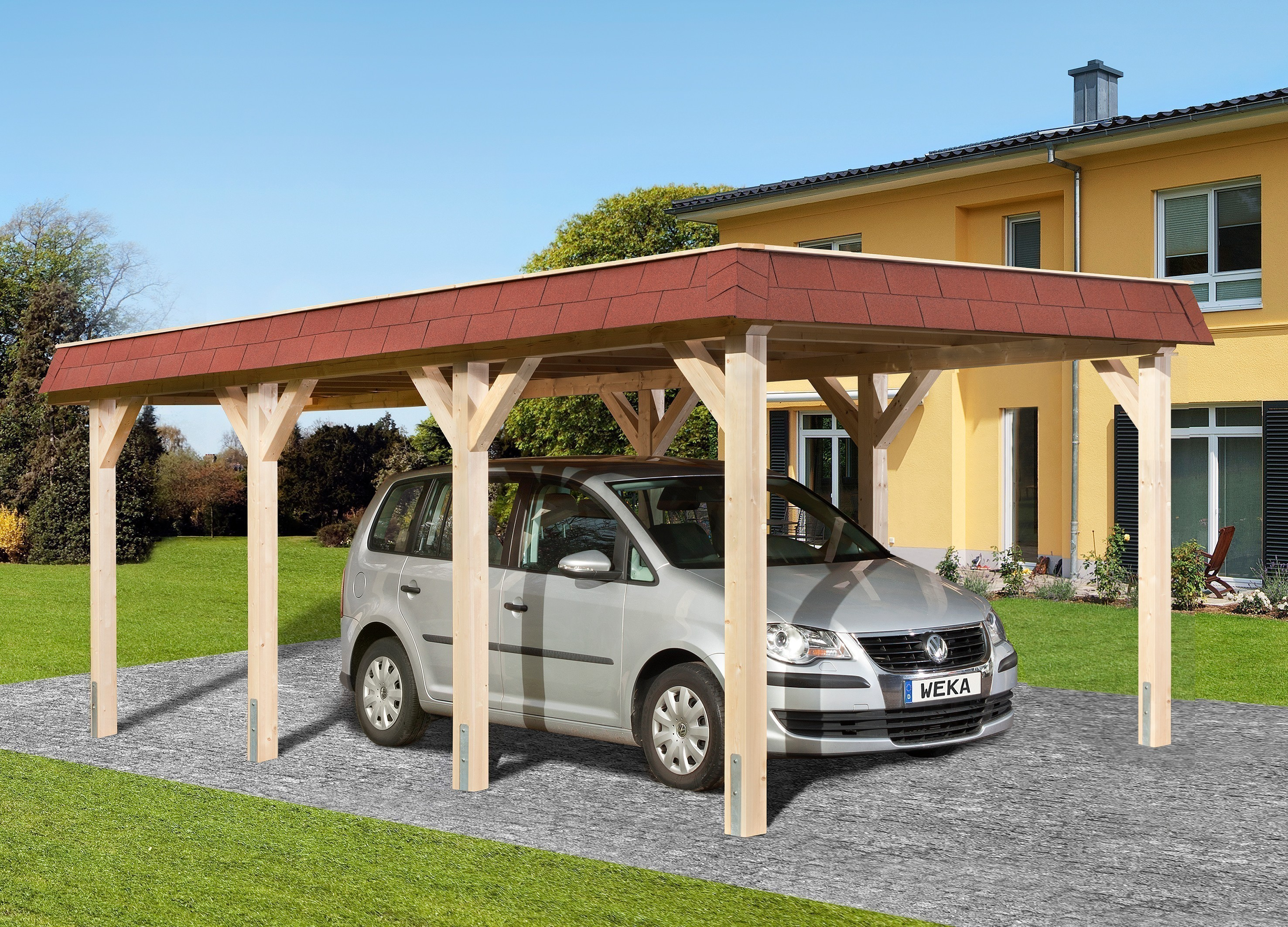 weka carport einzelcarport leimholz 615 gr 1 flachdach 337x639cm bei. Black Bedroom Furniture Sets. Home Design Ideas