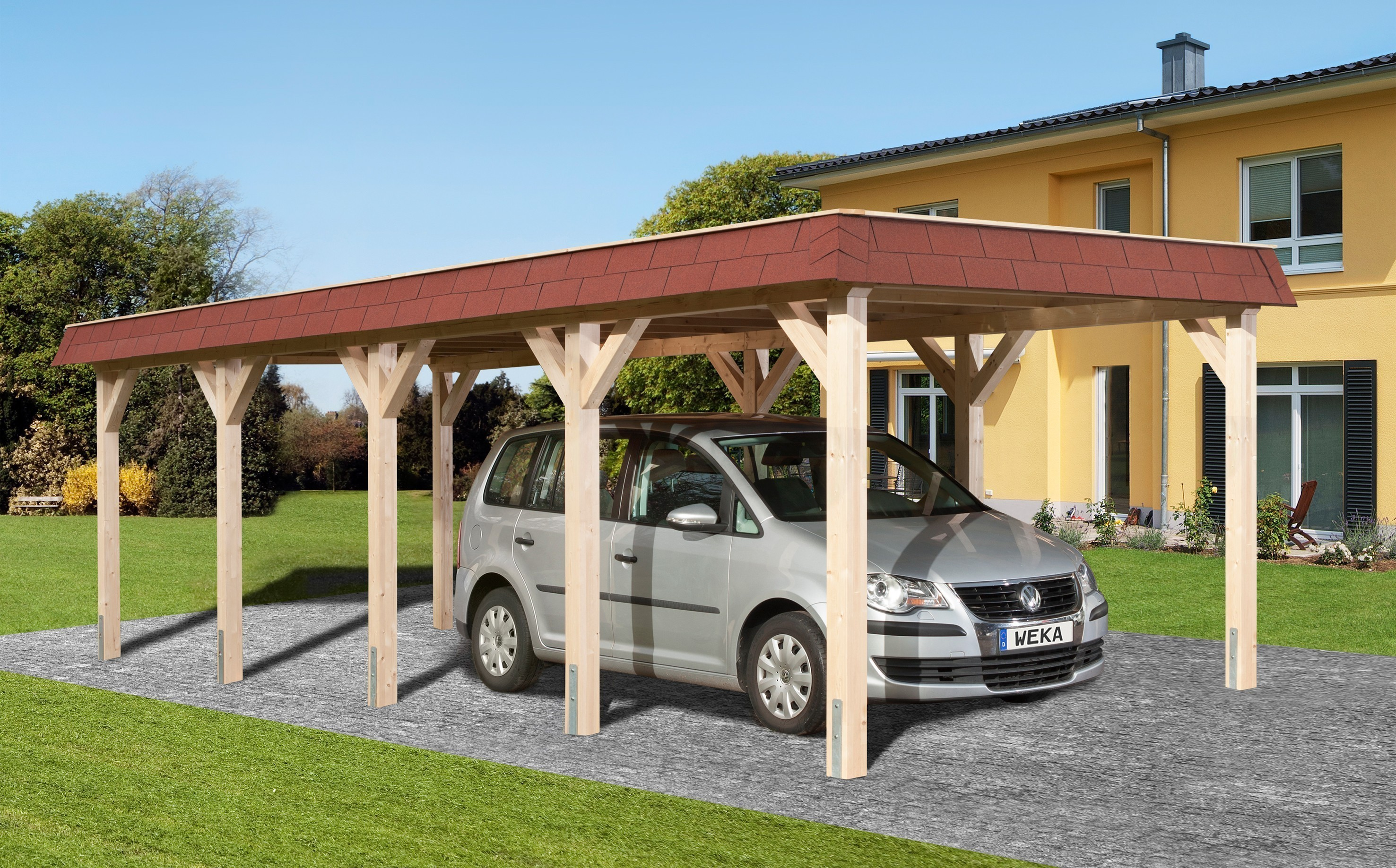 weka carport einzelcarport leimholz 615 gr 2 flachdach 337x832cm bei. Black Bedroom Furniture Sets. Home Design Ideas