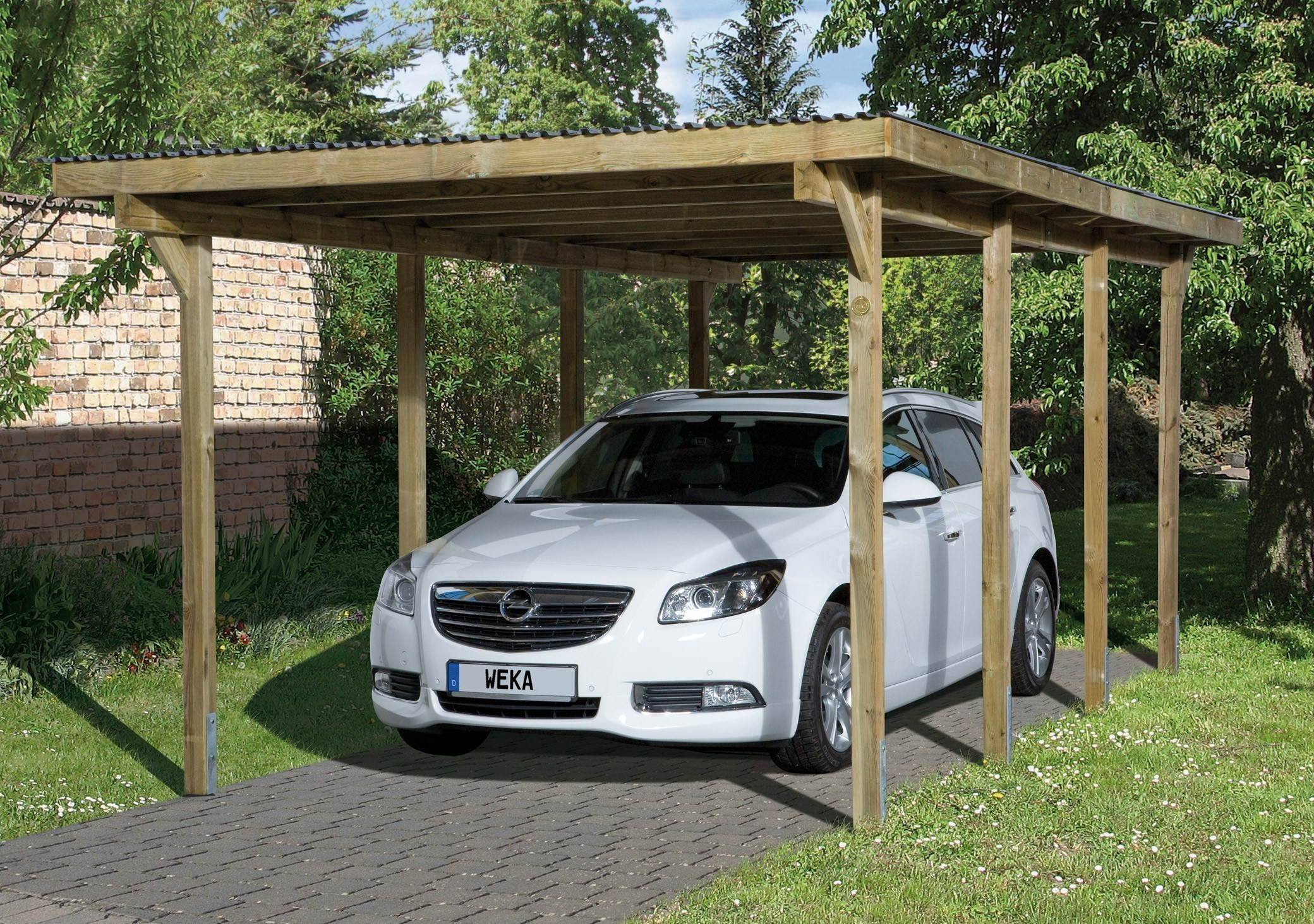 weka carport einzelcarport 606 gr 2 kdi 300x600 cm bei. Black Bedroom Furniture Sets. Home Design Ideas
