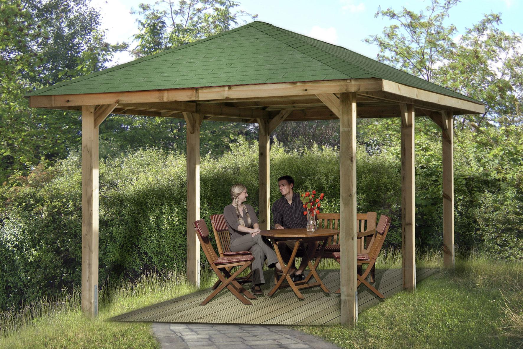 weka pavillon carport gartenoase 651d gr 1 kdi 584x333cm bei. Black Bedroom Furniture Sets. Home Design Ideas