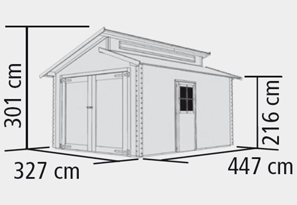 Garage mit Tor/ Karibu Blockbohlenhaus 28mm Stufendach natur 360x489cm Bild 2
