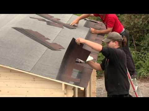 Garage mit Tor/ Karibu Blockbohlenhaus 28mm Stufendach natur 360x489cm Video Screenshot 765