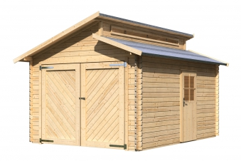 garage mit tor karibu blockbohlenhaus 28mm stufendach natur 360x489cm bei. Black Bedroom Furniture Sets. Home Design Ideas