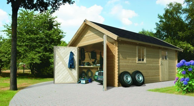 garage mit tor blockbohlenhaus 28mm karibu 297x447cm natur bei. Black Bedroom Furniture Sets. Home Design Ideas